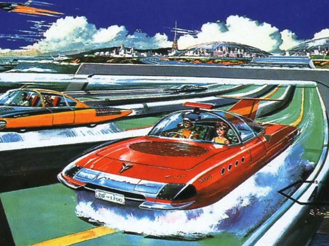 Une voiture rouge à l'allure élancée survole une route